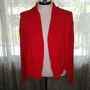 DKNY red wrap shawl sweater Cardigan M/L CG